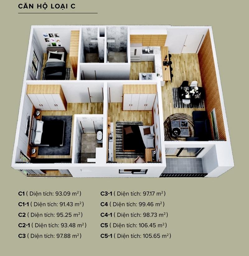 Căn hộ loại C The Zen Residence, 3 phòng ngủ
