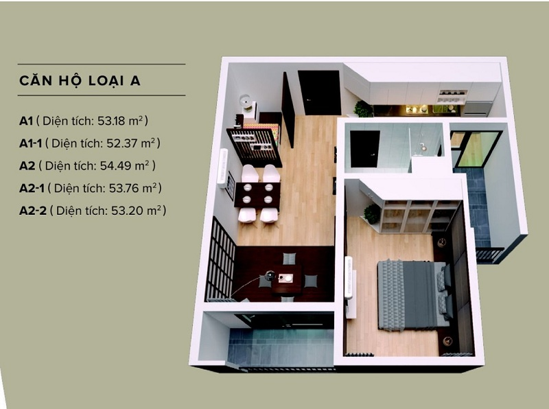 Căn hộ loại A The Zen Residence 1 Phòng ngủ