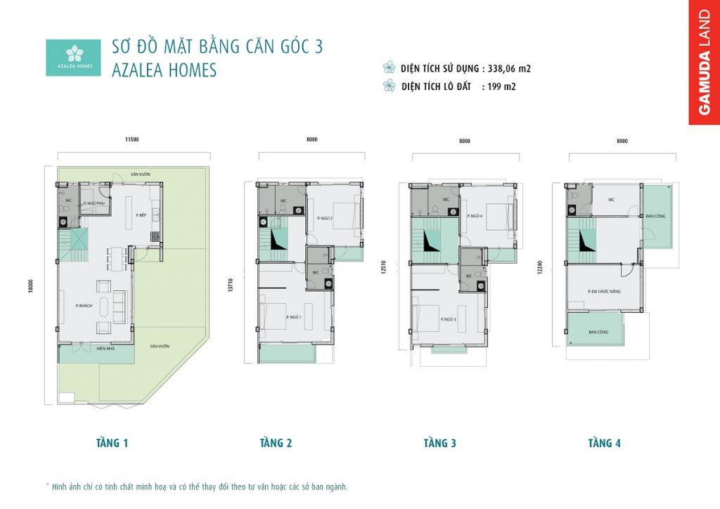 sơ đồ mặt bằng căn góc 3 Azalea Homes