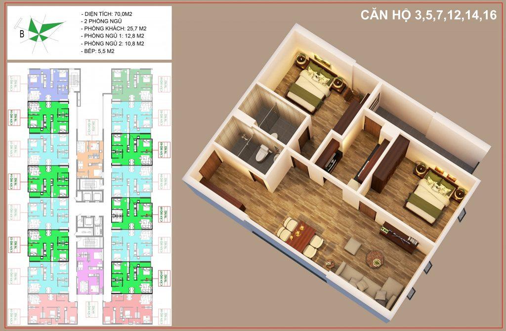 Mặt bằng căn căn số 3, 5, 7, 12, 14, 16 nhà ở xã hội IEC tứ hiệp thanh trì