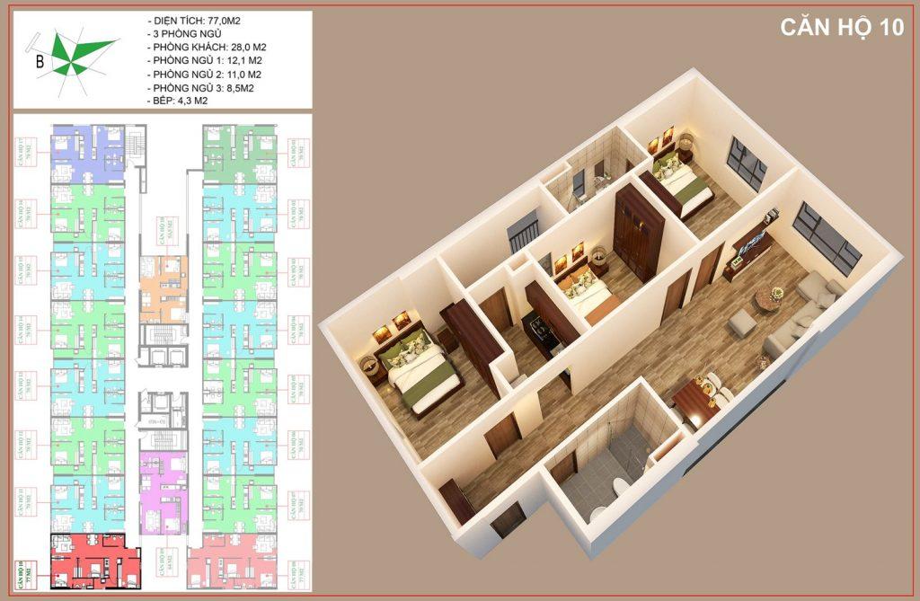 Mặt bằng căn hộ số 10 nhà ở xã hội IEC thanh trì