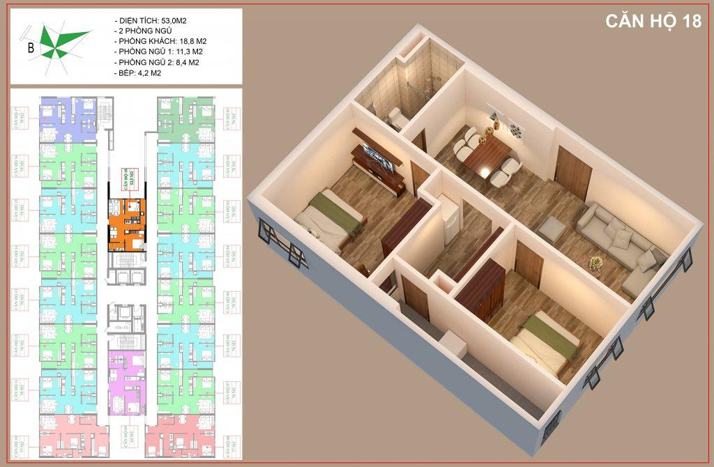 Mặt bằng căn hộ số 18 nhà ở xã hội IEC thanh trì