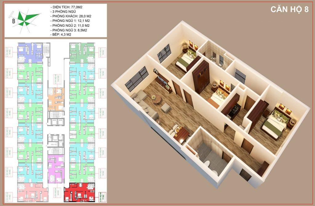 Mặt bằng căn hộ số 8 nhà ở xã hội IEC thanh trì
