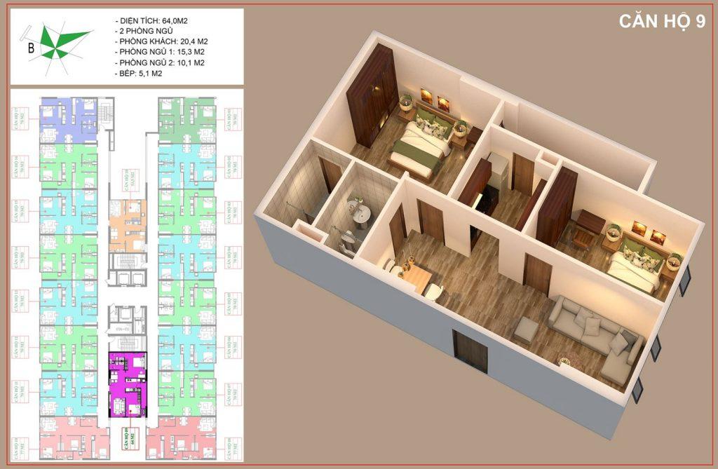 Mặt bằng căn hộ số 9 nhà ở xã hội IEC thanh trì