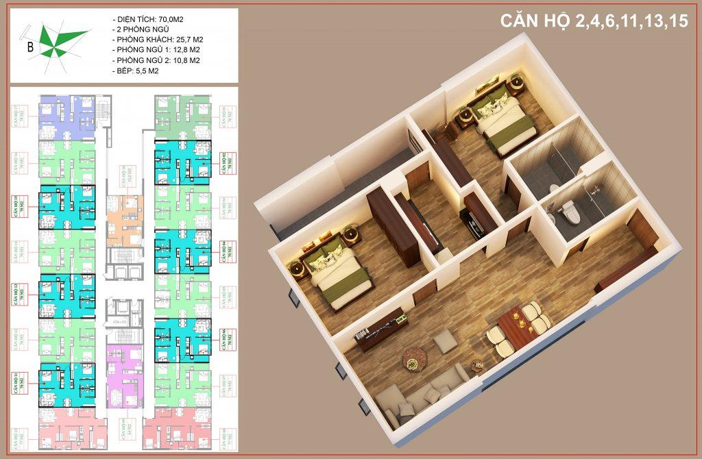 thiết kế căn số 2, 4, 6, 11, 13, 15 nhà ở xã hội IEC tứ hiệp thanh trì