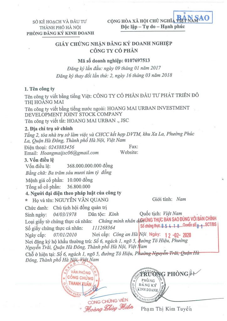 giấy phép đăng ký kinh doanh công ty cổ phần đô thị hoàng mai