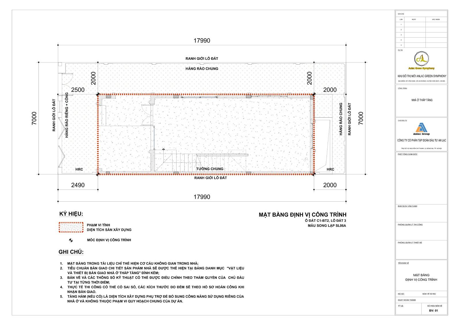 Bản vẽ lô đất SL06A hầm phụ trợ Mẫu SL06A Biệt thự song lập An Lạc Greem Symphony