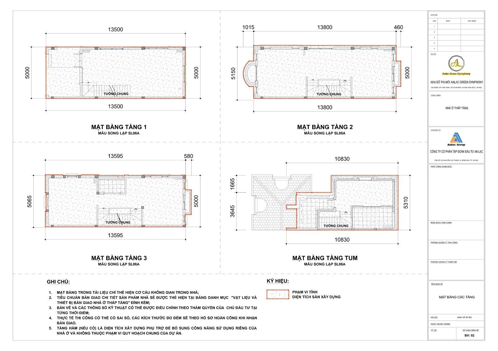 Bản vẽ tầng 1,2,3 mái Mẫu SL06A hầm phụ trợ Mẫu SL06A Biệt thự song lập An Lạc Greem Symphony
