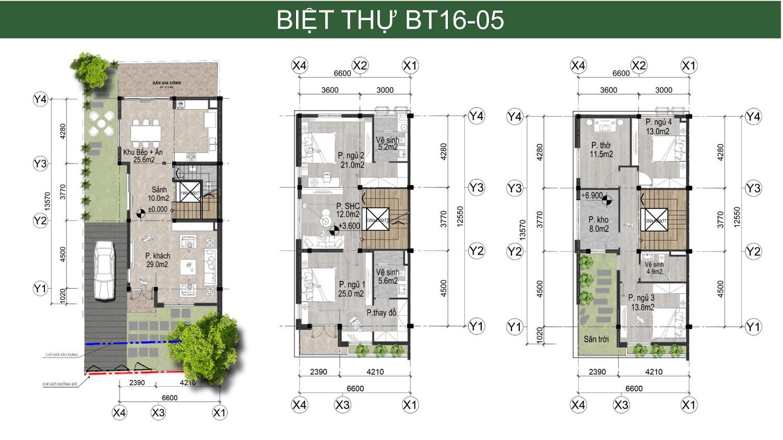 Thiết kế biệt thự song lập bản đồ liên kết vùng Hà Đô Charm Villa