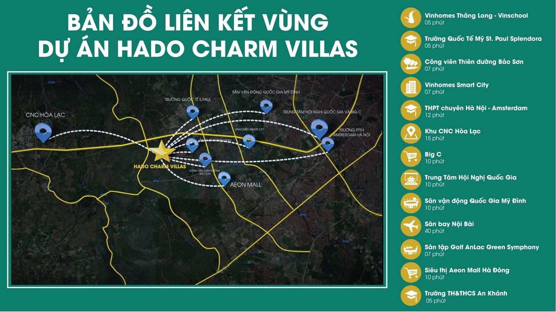 bản đồ liên kết vùng Hà Đô Charm Villa