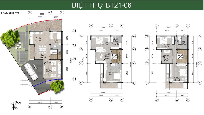 căn góc biệt thự song lập bản đồ liên kết vùng Hà Đô Charm Villa